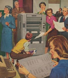 Everyone loves the new copy machine! #vintage #office #1950s