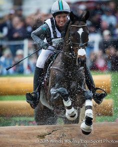 """With joy, Meghan O'Donoghue and"""" Pirate""""'s Gold Star storm Rolex. Competing in their first Rolex against the most expensive horses, they proudly came in 12th.  An Off The Track Thoroughbred & ex sale horse pony, he was acquired for 3,200."""