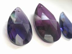 3pc Violet Purple Teardrop Chandelier Crystal Prism 38mm 50mm For Princess Crown