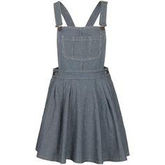 TOPSHOP MOTO Ticking Stripe Pini Dress (155 BRL) ❤ liked on Polyvore featuring dresses, topshop, overalls, skirts, multi, stripe dress, striped dress, blue dress and blue striped dress