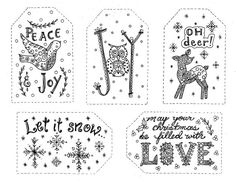 Christmas Gift Tags To Color INSTANT DOWNLOAD By ChubbyMermaid Zentangle Coloring Book Pages Colouring Adult Detailed