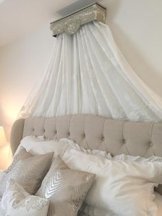 This beautiful bed crown was made so easily! I believe every room needs a WOW! factor and this is definitely it in this room!