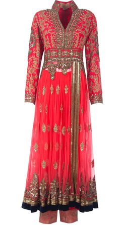 Coral pinkish raw silk-net embroidered yoke style kalidaar set available only at Pernia's Pop-Up Shop.