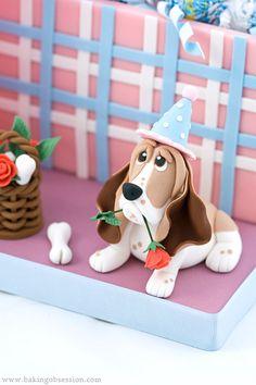 Fondant Dog Tutorial | dog-and-gift-box-cake-dog