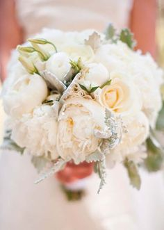 Inspirations, White And Ivory Bouquet: Lake Tahoe wedding - Lauren and Greg