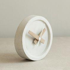 Concrete Table Clock - Off White