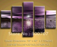 Hand Painted Free Shipping Abstract Modern Contemporary Canvas Wall Art  Dark Violet Shore After Sunset