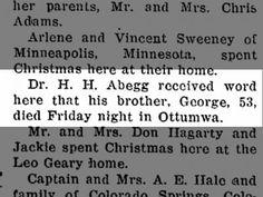 ABEGG, George - 1942 death The Greene Recorder 30 Dec 1942