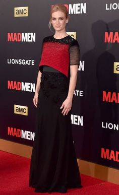 January Jones mirrors the shows colour palette at the 'Mad Men' gala yesterday