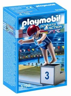 Playmobil Swimmer by Playmobil. $3.49. Playmobil 5198 - Swimmer. Playmobil Swimmer - Dive in and practice the backstroke with the Swimmer. Set includes one figure and diving block. Recommended for ages four to ten. Warning: Choking Hazard. Small parts. Not for children under 3 years.The miniature worlds of Playmobil encourage children to explore and learn while having fun. Children's imaginations are transported to medieval times with the Playmobil castle, to the adventur...