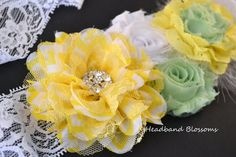 Chic yellow, white, and mint green flower sash perfect photography prop! Maternity Photo Props, Maternity Sash, Yellow Chevron, Baby Yellow, Mint Green Flowers, Sash Belts, Chiffon Flowers, Gender Neutral Baby, Outfits With Hats