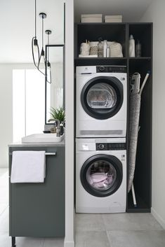 Laundry In Kitchen, Laundry Cupboard, Utility Cupboard, Laundry Room Bathroom, Modern Laundry Rooms, Laundry Closet, Laundry Area, Laundry Room Storage, Small Utility Room