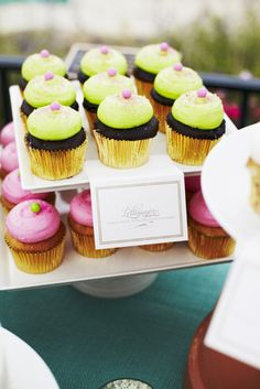 Icing reminder - bright, brash dollops look best on a rich base { neon cupcakes }