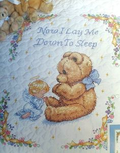 Sweet Prayer Quilt Stamped Cross Stitch Kit Now I Lay Me Down to Sleep Dimension #DimensionsSunset #StampedCrossStitchKit