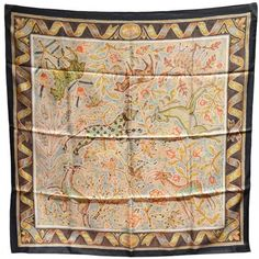 """Rare Hermes Vintage Pavement Silk Scarf : Lot 97.  RARE Hermes Pavement silk scarf in excellent condition. Original silk screen design c1970s by Maurice Tranchant features a stunning tiled design with various animals in subtle colors surrounded by a black border. 100% silk, hand rolled hem. Made in France. No stains, smells, or fabric pulls. Rare colorway perfect for men & women. Purchase includes hermes box. Measurements: 35""""x35""""."""