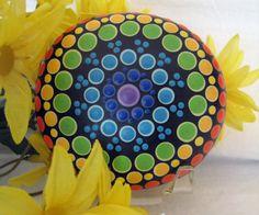 CHAKRA Mandala Stone Hand Painted River Rock ~ Energy ~ Meditation ~ Rainbow Colors ~ Seven Chakras Dot Painting by WrenStones on Etsy