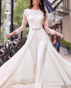 Long Plus Size Wedding Dresses Off White Dress Lalamira White Qipao Orange Wedding Guest Dresses, Wedding Dress Styles, Wedding Party Dresses, Bridal Dresses, Bridal Outfits, Vestidos Off White, Floryday Vestidos, Off White Dresses, Wedding Jumpsuit