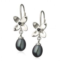 Forget Me Not 4 pedal leverback earrings with pearl