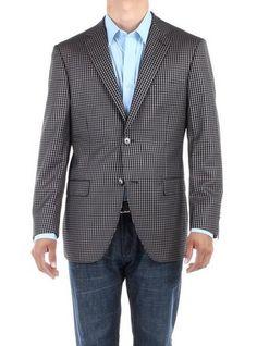 cool Bianco B Men's Check Modern Two Button Blazer Trim Fit Jacket - For Sale