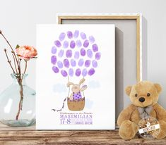 Baby tree for birth prints or christening - feenstaub.at SHOP Christening Present, Baptism Gifts, Fingerprint Tree, Birth Gift, Crafts For Girls, Awareness Ribbons, Valentine Day Crafts, Baby Party, Baby Prints
