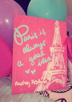 cute idea #Audrey Hepburn #Paris #Painting  This would be so cute for a little girls room!