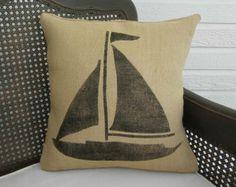 Sailboat  Burlap Pillow - Nautical Decor