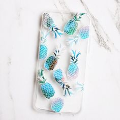 Clear Pineapple Print iPhone Case