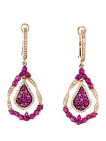 2.15ctw Ruby and Diamond Drop Earrings
