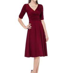 New Summer y New y V-neck Dress Women Red Retro Casual Half Sleeve Robe…