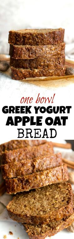 This One Bowl Greek Yogurt Apple Oat Bread recipe is made without butter, oil…