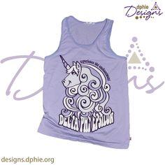 Delta Phi Epsilon Swirly & Adorable unicorn unisex lavender tank!! Get one today at DPhiE Designs!!