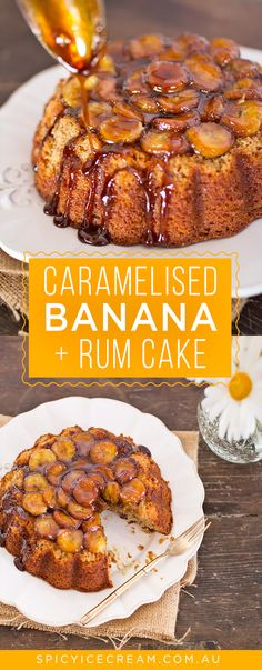 A delicious Caramelised Banana and Rum Cake that is easy to make, warming and comforting for a winter's day. The spiced rum makes it extra delicious! Rum Cake Recipe Easy, Easy Cake Recipes, Rum Recipes, Desert Recipes, Jamaican Recipes, Chocolate Rum Cake, Banana Bundt, Caramelized Bananas, Pastries