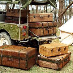 Packed and ready for the safari Vintage Safari, Love Vintage, Vintage Suitcases, Vintage Luggage, Tanzania, Kenya, Glamping, Safari Photo, British Colonial Decor
