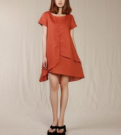 Maxi Dress Loose Fitting Sundress Short Sleeve Summer Dress in Orange(more colour and size choice)-NS02