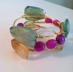 The Knoxville gold wire wrapped bracelet bangle by SOHbangles