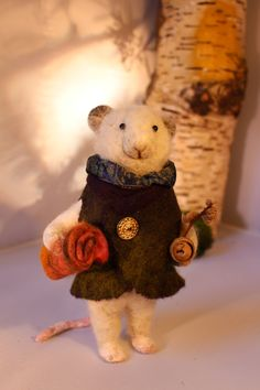 Needle felted Sculpture Winter Picnic Mouse by OkieFolky on Etsy