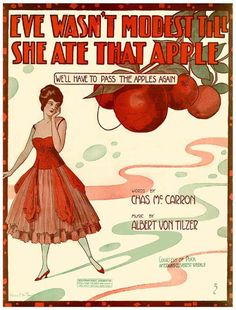 Vintage Song Poster - Eve Wasn't Modest Till She Ate That Apple