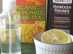 Home made hair lightening spray | 1/4 cup hydrogen peroxide 1/4 cup room temperature chamomile tea 1/2 cup room temperature water juice from one freshly squeezed lemon
