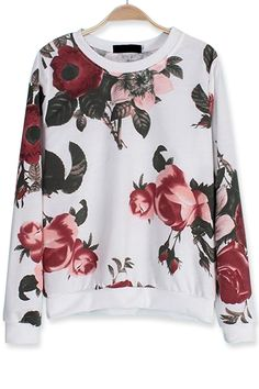 Casual Floral Loose Sweatshirt