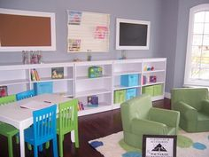 White Wall Storage with Colorful Table and Chairs Furniture in Preschool Kindergarten Classroom Decorating Design Ideas Modern Kindergarten Classroom Decoration with Colorful Theme Design Ideas