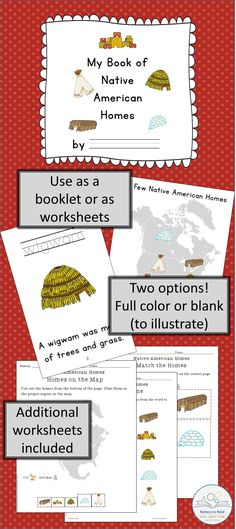 """$ Help your students learn about 5 different Native American homes with """"My Book of Native American Homes."""" Use as a booklet or as worksheets; print in full color or without images to allow for coloring. Additional worksheets included. $"""