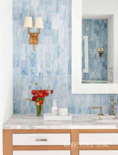 Blue tile from New Ravenna was installed vertically for visual interest in the serene master bath. - Photo: David A. Land / Design: Andrew Howard