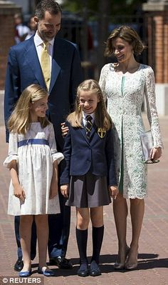 Delighted: Both halves of the royal couple looked thrilled to be at the ceremony with their daughters