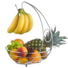 Cookspace Corbeille à fruits avec crochet à bananes Design élégant Chrome
