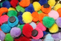 Magnetic Pom-poms, great for fine motor skills, patterns, making sets, counting