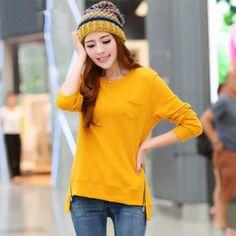 Loose plain oversized sweatshirt crew neck long sleeve for women