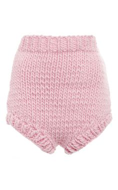 Pink wool high waisted shorts by I LOVE MR. MITTENS Now Available on Moda Operandi