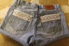 DIY High-Waisted shorts for SO CHEAP! Step-by-step tutorial of how to make them out of thrift-store jeans and then add lace! Must read blog