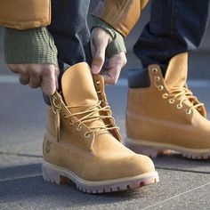 """Timberland: the """"Original Yellow Boot"""" has long been a popular American icon, the classic look has been copied by many, but never really duplicated. Mens Shoes Boots, Mens Boots Fashion, Men's Boots, Mode Timberland, Timberland Outfits Men, Wheat Timberland Boots, Zapatillas Jordan Retro, Fly Shoes, Men Boots"""