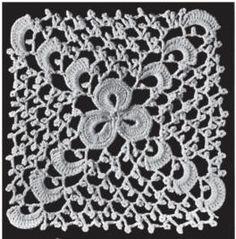 Irish crochet lace square ~~ Carré au trèfle | Album de Guipure d'Irlande (2e et 5e Volumes) par Madame Hardouin | Pattern - Patrón